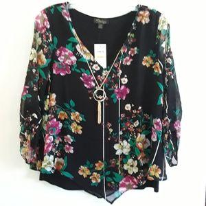 Thalia Sodi Layered Ruched-Sleeve Necklace Blouse